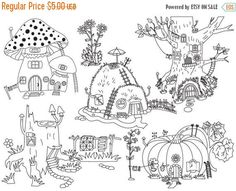 70% OFF SALE Forest Houses Clipart - Digital Vector Pumpkin, Amanita, Mushroom, Hill, Tree, House Clip Art For Personal And Commercial