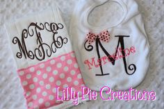 Personalized Baby Girl Gift Set-Coordinating Monogrammed Bib and Burp Cloth on Etsy, $20.00