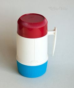 Vintage Retro 1960s/70s Red White & Blue THERMOS Brand Soup Flask by UpStagedVintage on Etsy