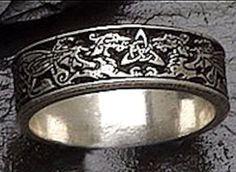 Celtic DRAGON Wedding Ring 925 SILVER Handfasting BAND Triscele Narrow