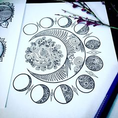 drawing Crescent Moons Adult Coloring Page Set of Three Original Art Moon Phases Design Mandala Tattoo Design, Mandala Drawing, Tattoo Designs, Drawing Art, Moon Drawing, Tattoo Ideas, Mandala Art Lesson, Drawing Flowers, Mandala Painting