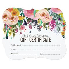Flower bouquet gift certificate card gift certificate template painted floral salon gift certificate template card yadclub Images