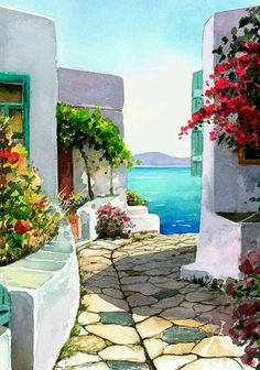 I want to walk into this picture. Watercolor Landscape by Pantelis D Zografos Watercolor Landscape, Watercolour Painting, Landscape Art, Painting & Drawing, Landscape Paintings, Watercolors, Watercolor Trees, Watercolor Artists, Watercolor Portraits