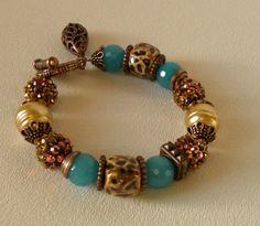 Turquoise Agate Handmade Beaded Bracelet by bdzzledbeadedjewelry