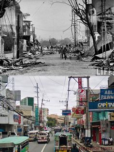 Dito, Noon: Herran Street, 1945 x Pedro Gil Street, 2020, Paco, Manila #kasaysayan — The fixture in both images is a spire on the left, the remnant of what was once the art deco building that housed the Cine Bellevue (built in 1933). It is currently a Super 8 Grocery warehouse. Manila, Art Deco Buildings, Present Day, Warehouse, History, Street, Image, Historia, Magazine