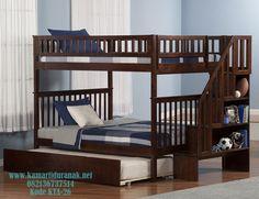 Model Tempat Tidur Tingkat Sorong, Tempat Tidur Tingkat Klasik, Ranjang Tingkat Jati, Tempat Tidur Tingkat 3 Anak Laki-Laki