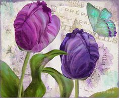 Tulips Painting - Parrot Tulips by Mindy Sommers