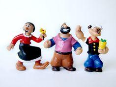 3 x 80s Disney Popeye/Olive Oyl/ Bluto Vintage por BambiRobotShop