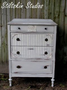 GIMME! - Antique Shabby Farmhouse Grey Tallboy Dresser--- I really NEED this!