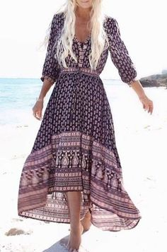Print V Neck Sleeve Maxi Dress boho ╰☆╮Boho chic bohemian boho style hippy hippie chic bohème vibe gypsy fashion indie folk the . ╰☆╮boho ╰☆╮Boho chic bohemian boho style hippy hippie chic bohème vibe gypsy fashion indie folk the . Hippie Chic, Style Hippy, Boho Chic, Moda Hippie, Bohemian Mode, Gypsy Style, Bohemian Style, Maxi Dress With Sleeves, Dress Skirt