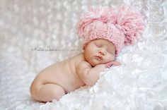Double Pom Pom Hat - Square Hat with Two Pompoms - Newborn Photo Prop - Sizes Newborn - Toddler