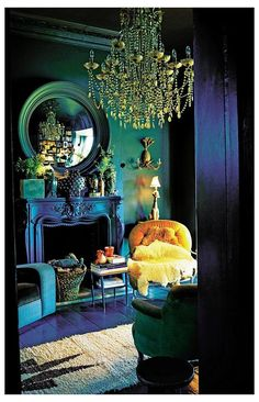 Interiors: Take two #emerald #green #wall #bedroom #jewel #tones #emeraldgreenwallbedroomjeweltones …design experts, each putting their own twist on the traditional for a look that's distinctive, individual and inviting Living Room Decor Colors, Eclectic Living Room, Living Room Color Schemes, Bedroom Colors, Colour Schemes, Dark Living Rooms, Living Room Green, Bedroom Green, Bedroom Wall