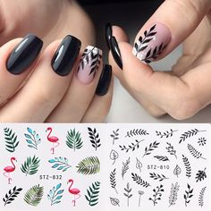 Decal Tips Nail-Art-Decorations-Slider Transfer Flowers Water-Nail-Stickers Leaf Manicure-Watermark-Foil Black Nail Art, Black Nails, Nail Manicure, My Nails, Gold Glitter Eyeshadow, Nagel Stamping, Water Nails, Nagel Hacks, Slider