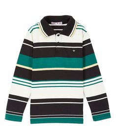 Look at this #zulilyfind! Black & Green Stripe Long-Sleeve Polo - Toddler & Boys #zulilyfinds