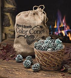 DIY Pine Cone Colored Fire-Starters ~ Step-by-step instructions to your own colored flames! Amazing!