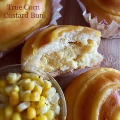 Creamy corn custard filled sweet corn buns 🌽 - a type of bread I like to eat but hard to find in local bakery. I mean true corn ...