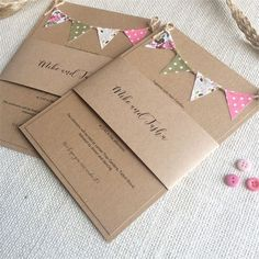Vintage inspired wedding stationery with bunting motif on brown kraft card by Nessa Noelle Wedding Stationery Wedding Invitations Diy Handmade, Pocket Wedding Invitations, Beautiful Wedding Invitations, Printable Wedding Invitations, Wedding Stationary, Invitation Cards, Invites, Wedding Bunting, Indian Wedding Cards