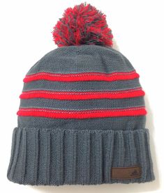 26 ADIDAS THE COLLECTION POM BEANIE Gray amp Red Striped Winter Knit Hat  Men Women a1e62f972af5