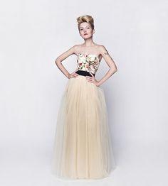 Unique handmade long tulle floral wedding dress, bridal tulle dress– a unique product by SzyjemySukienki via en.dawanda.com