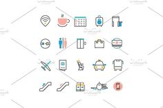 Airoport icons with line and colorful elements. Travel Infographics