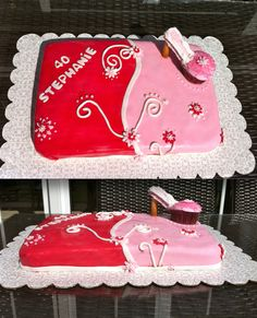 """A two toned birthday cake with a cupcake high heeled """"shoe"""""""