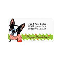 Shop Boston Terrier Happy Howlidays Christmas Label created by offleashart. Polka Dot Scarf, Polka Dots, Christmas Address Labels, Custom Address Labels, How To Be Outgoing, Winnie The Pooh, Boston Terrier, Dogs And Puppies, Dog Lovers