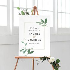Modern Botanical Printable Welcome Sign Poster  Wedding