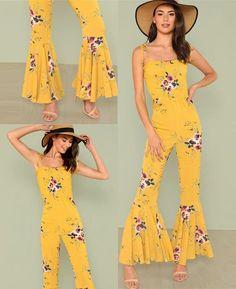 1b2e100a046 Floral Boho High Waist Flare Jumpsuit