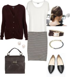 """Burgundy and Stripes"" by bluehydrangea on Polyvore"