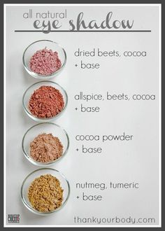 All Natural Homemade Eyeshadow Recipe DIY Natural Beauty diy makeup recipes - Makeup Recipes Diy Beauty Tutorials, Diy Beauty Hacks, Beauty Hacks For Teens, Diy Hacks, Diy Beauty Makeup, Beauty Tips And Tricks, Beauty Ideas, Beauty Guide, Beauty Advice