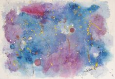 Space painting Original Watercolor Signed by EnchantedRoseProduct