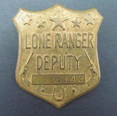 Vintage 1940s Lone Ranger Deputy Shield Badge Pin w Secret Compartment On Back #TheLoneRangerCheeriosPrize1949