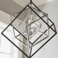 Prismatic Cubed Chandelier - 3 Light matte_black_with_chrome Chandelier Lighting Fixtures, Entry Lighting, Kitchen Chandelier, Chandelier In Living Room, Ceiling Chandelier, Ceiling Light Fixtures, Modern Chandelier, Chandeliers, Entry Chandelier