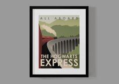 Hogwarts Express Travel Poster, Harry Potter Print, Harry Potter Wall Art, Modern Home Decor, Wall Art, Art Deco