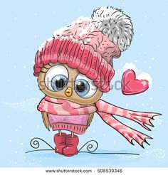 Illustration about Cute Cartoon Owl in a hat and scarf. Illustration of birds, cute, knitted - 79856147 Cute Images, Cute Pictures, Illustration Noel, Owl Art, Digi Stamps, Christmas Art, Cute Cartoon, Cartoon Owls, Cute Drawings