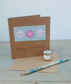 Birthday Card, Happy Birthday, Flowers,Birthday Card for Her, Eco Friendly Greetings Card by KathHeywoodDesigns on Etsy