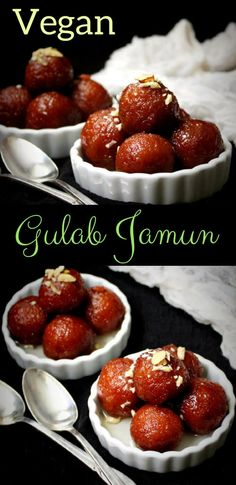 Jamun Vegan Gulab Jamun is an Indian dessert to die for. These gulab jamuns are made with bread and cashew cream. Vegan Gulab Jamun is an Indian dessert to die for. These gulab jamuns are made with bread and cashew cream. Brownie Desserts, Oreo Dessert, Mini Desserts, Coconut Dessert, Dessert Bars, Vegan Indian Recipes, Indian Dessert Recipes, Indian Sweets, Vegan Dessert Recipes