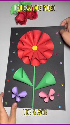Paper Flowers Craft, Paper Crafts Origami, Paper Crafts For Kids, Craft Activities For Kids, Crafts To Do, Flower Crafts, Hand Crafts For Kids, Crafts For Seniors, Toddler Crafts