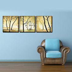 yellow fog Contemporary Tree Wall Clock in Canvas 3pcs