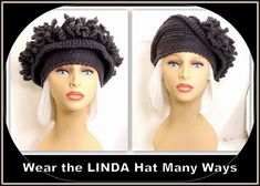 The LINDA crochet cloche hat in graphite has loops that sit above the brim.