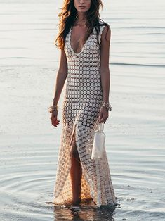 Bohemian Lace V Neck Hollow Out See-Through Splicing Beach Pullover – cute cruise outfits,summer vacation dressesr,beach dresses vacation,weekend dress Popular Outfits, Trendy Outfits, Cool Outfits, Woman Outfits, Cruise Outfits, Summer Outfits, Beachwear Fashion, Women's Fashion, Fashion Styles