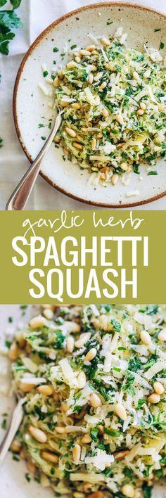 Garlic Spaghetti Squash with Herbs + pine nuts and Gruyère cheese. 300 calories.   pinchofyum.com: