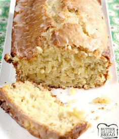 Pineapple Quick Bread is sweet, moist and absolutely delicious, especially with a simple pineapple glaze on top! This quick bread recipe is made with crushed pineapple, cream cheese, sour cream and a few other basic ingredients. Best Bread Recipe, Quick Bread Recipes, Banana Bread Recipes, Cake Recipes, Beef Recipes, Dessert Recipes, Cooking Recipes, Pineapple Recipes, Pineapple Glaze