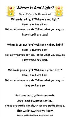 """Where is Red Light? song, passed out Popsicle sticks with """"light"""" colored circles to represent the traffic lights. Kindergarten Songs, Preschool Music, Preschool Classroom, Preschool Learning, Preschool Activities, Teaching, Circle Time Activities, Therapy Activities, Transportation Theme Preschool"""