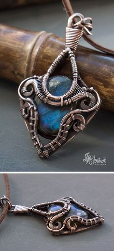 Blue labradorite copper wire wrap necklace