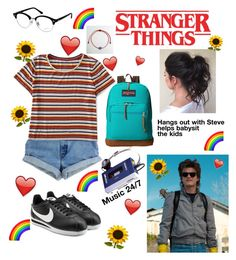 """""""Stranger Things ❤️"""" by wtfgianna on Polyvore featuring Aéropostale, Sony, Ray-Ban, NIKE, JanSport, me, StrangerThings and steveharrington"""