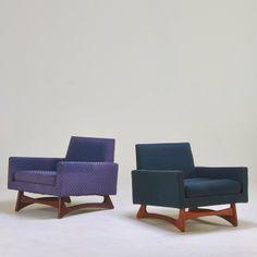 Adrian Pearsall; Walnut Lounge Chairs, 1960s.