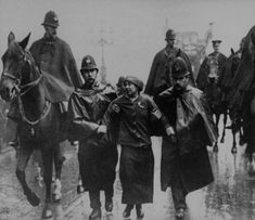 Suffragette Sylvia Pankhurst being arrested. Yet again, at Charing Cross, London.