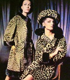 1964 leopard print coats hat jacket early mid 60s era models magazine vintage fashion black tan brown