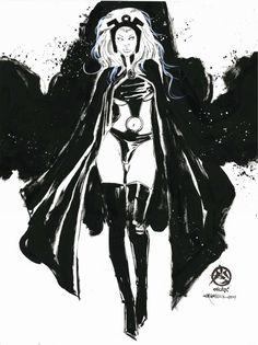 Storm by Mark Beachum Comic Books Art, Comic Art, Black Panther Storm, Marvel Comics, Storm Xmen, Storm Images, Female Superhero, Beast Boy, Comic Drawing